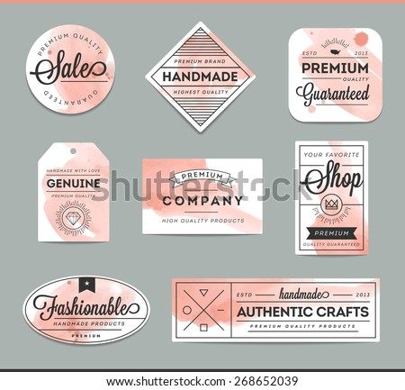 set of beautiful artistic labels, vector illustration - stock vector