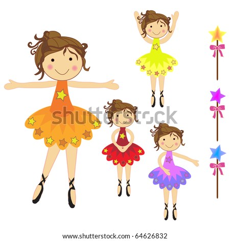 set of beautiful ballerina characters standing and  dancing with different pose with stars - stock vector