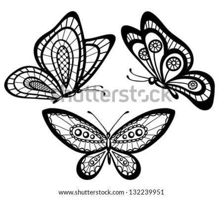 set of beautiful black and white guipure lace butterflies. Many similarities to the author's profile - stock vector