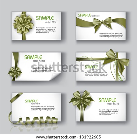Set of Beautiful Cards With Green Gift Bows And Ribbons. Vector Design. - stock vector
