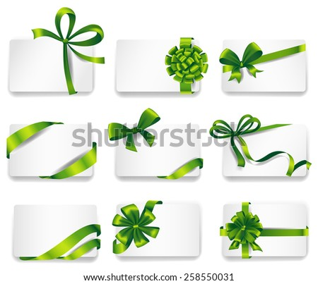 Set of beautiful cards with green gift bows with ribbons. Vector illustration.  - stock vector