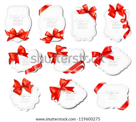 Set of beautiful cards with red gift bows with ribbons. Vector illustration. - stock vector