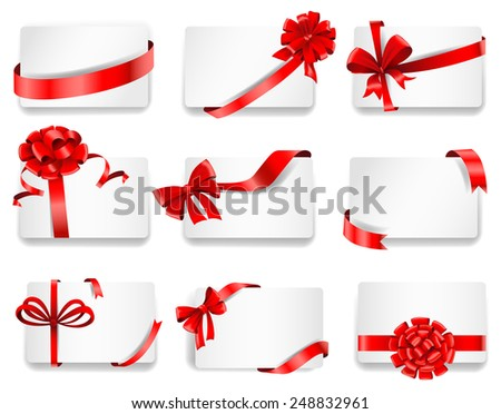 Set of beautiful cards with red gift bows with ribbons. Vector illustration - stock vector