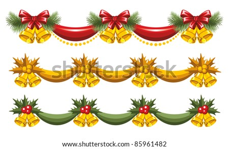 Set of beautiful Christmas garlands - stock vector