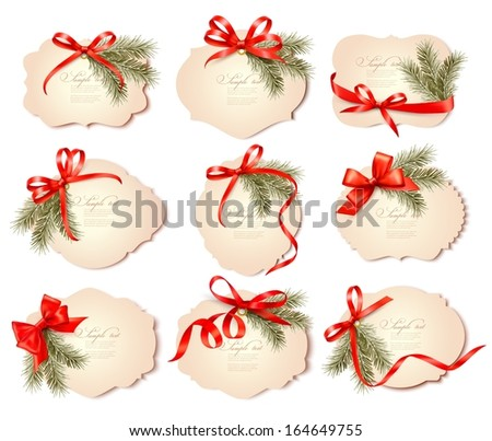 Set of beautiful christmas gift cards with red gift bows with ribbons Vector  - stock vector