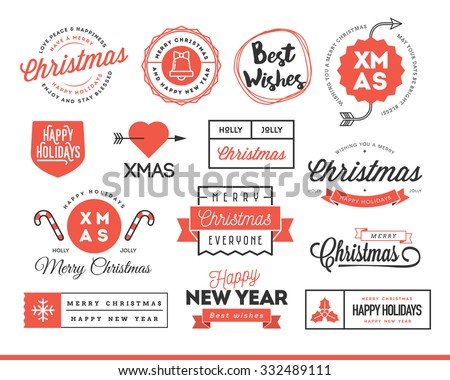 Set of beautiful Christmas themed labels, badges and logos, vector illustration  - stock vector