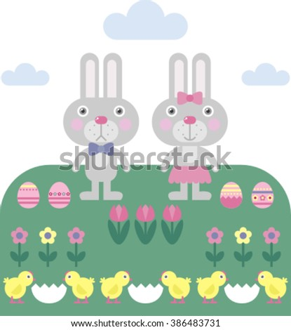 set of beautiful easter elements with rabbits, flowers, eggs, chickens