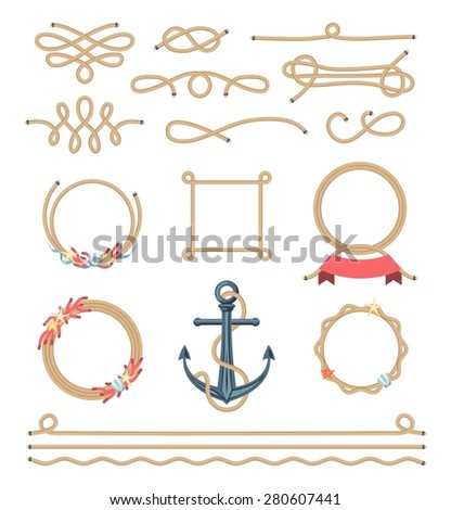 set of beautiful elements made of nautical rope, vector illustration - stock vector