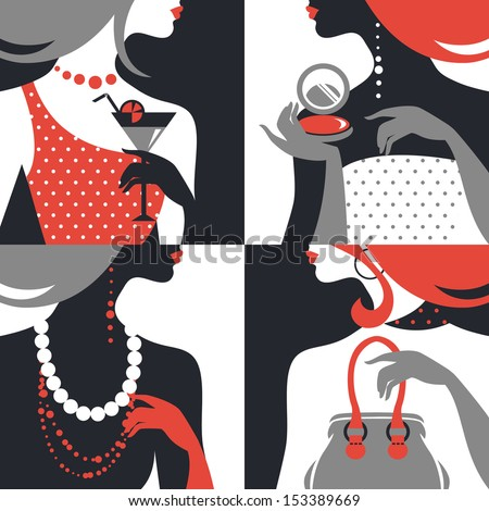Set of beautiful fashion woman silhouettes. Flat design  - stock vector