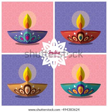 Set Of Beautiful Flat Design Burning Diya India Oil Lamp With Decorative Pattern Background