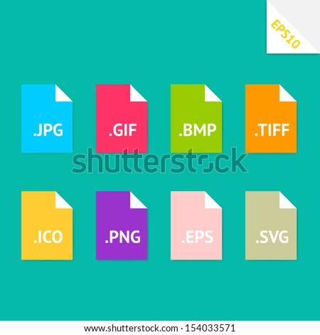 Set of beautiful flat icons with popular image file formats - stock vector
