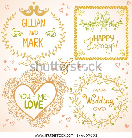 Set of beautiful floral greeting frame with birds for wedding - stock vector