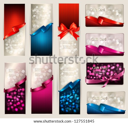 Set of beautiful Gift cards with color gift bows with ribbons Vector illustration. - stock vector