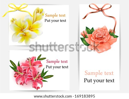 Set of beautiful gift cards with pastel roses, plumerias , lilies and gift bows, may be used for Women's Day  - stock vector