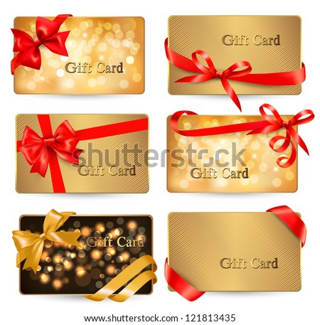Set of beautiful Gift cards with red gift bows with ribbons Vector illustration. - stock vector