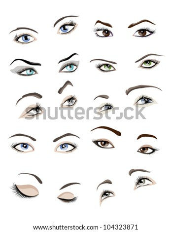 Set of 10 beautiful glamour woman eyes and eyebrows. - stock vector