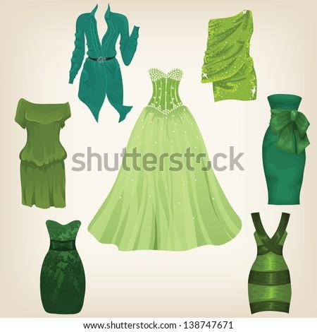 Set of beautiful green dresses for female model - stock vector
