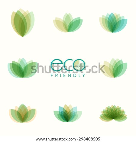 Set of beautiful green leaves on shiny background for Eco Friendly concept. - stock vector