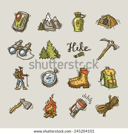 set of beautiful hand- drawn hike icons  - stock vector