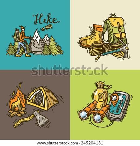 set of beautiful hand- drawn hike illustrations - stock vector