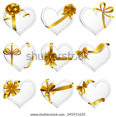Set of beautiful heart-shaped cards with gold gift bows with ribbons. Vector illustration - stock vector