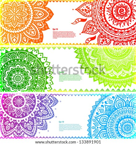 Set of Beautiful Indian ornament banners - stock vector