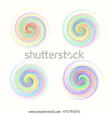 set of beautiful multicolored spiral patterns