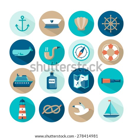 set of beautiful nautical flat icons, vector illustration  - stock vector