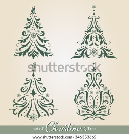 Set of beautiful ornamental Christmas Trees to create holiday cards, backgrounds and decoration. - stock vector
