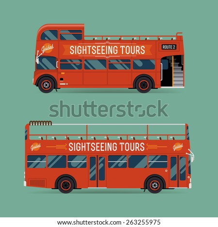 Set of beautiful red double decker open top sightseeing and city visiting buses | Metropolitan public transport illustration touristic buses with no roof  - stock vector