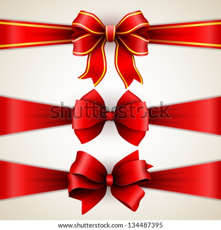 Set of beautiful red gift bows with ribbons - stock vector