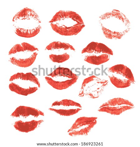 Set of beautiful red lips print on isolated white background  - stock vector