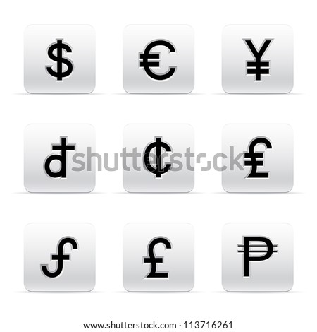 set of beautiful silver currency button icons - stock vector