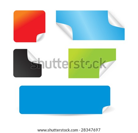 Set of beautiful vector stickers with corners fresh labels - stock vector