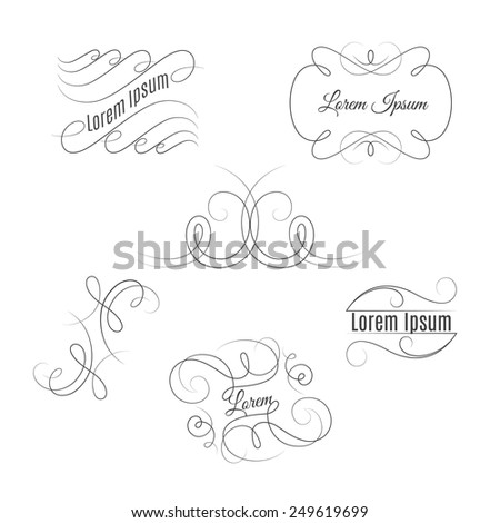 Set of beautiful vintage flourishes. Vector outline elegant frames and elements. - stock vector