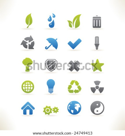 Set of beautiful web icons vol.6 Ecology - stock vector
