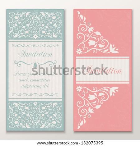 Set of beautiful wedding invitations. Vector illustration EPS 10 - stock vector