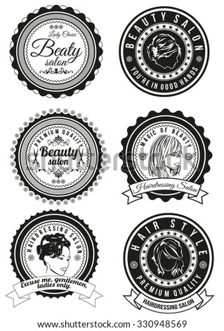 Set of beauty and hairdressing salon round badges isolated on white background. Collection of elements for company logos, print products, page and web decor or other design. Vector illustration.