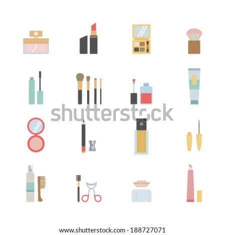 set of beauty and makeup icons  - stock vector