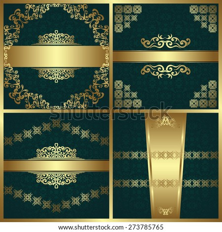 Set of beauty cards on seamless background. Vintage decoration with luxury borders, ribbons and frames. Retro design         - stock vector