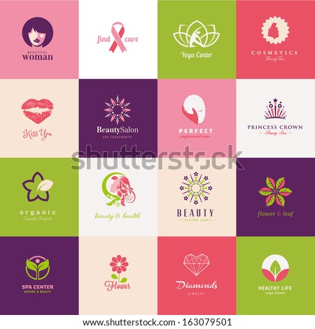 Set of beauty icons - stock vector