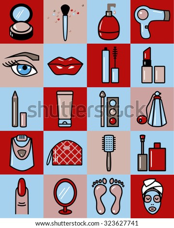 Set of beauty industry icons, EPS 8. - stock vector