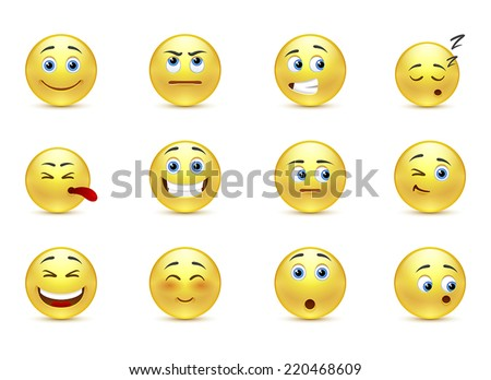 Set of beauty pensive smiles icons - stock vector