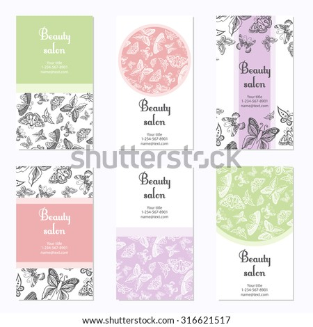 Set beauty salon business cards butterfly stock photo photo vector set of beauty salon business cards with butterfly card template can be used for spa accmission Image collections