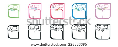 set of bed linen icons - stock vector
