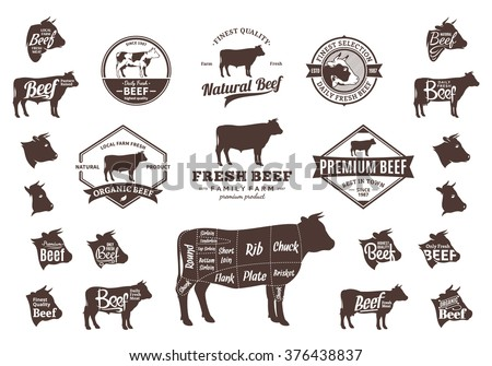 Set Beef Logo Butchery Labels Sample Stock Vector ...