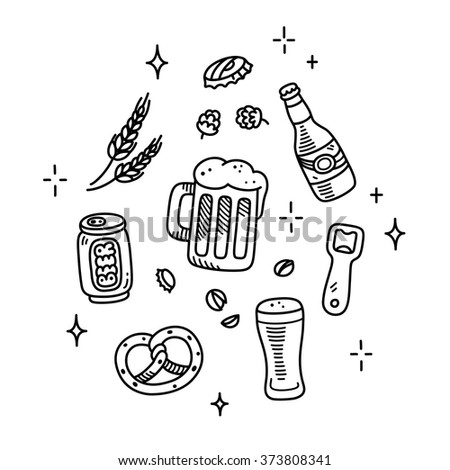 Set of beer and brewery doodles. Hand drawn sketch style. Isolated vector illustration.
