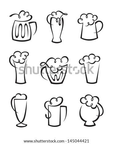 set of beer glasses - stock vector