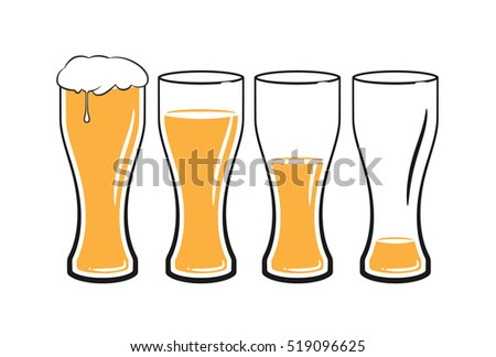 set of beer glasses with light beer on white background