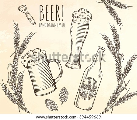 Set of beer objects. Hand drawn vector illustration. - stock vector